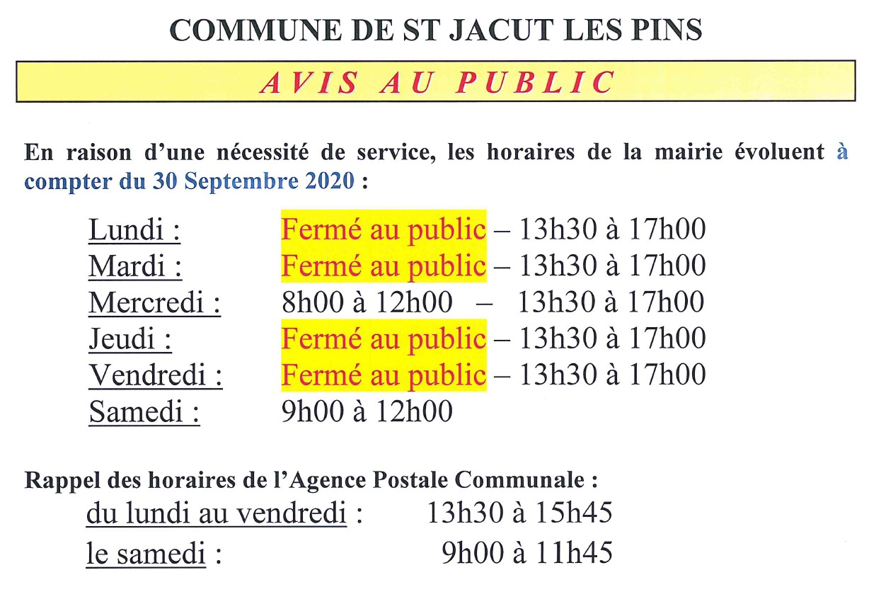 horaires mairie 30sept2020